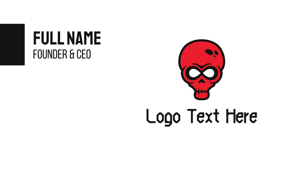 Infinity Red Skull Business Card