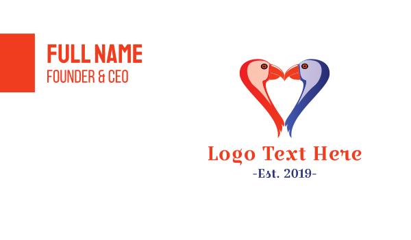 macaw - Bird Heart Business card horizontal design