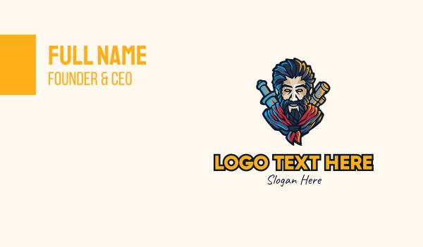 old man - Gaming Hunter Character Business card horizontal design