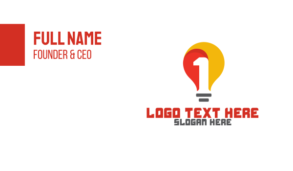 electrician - Yellow Bulb Number 1 Business card horizontal design