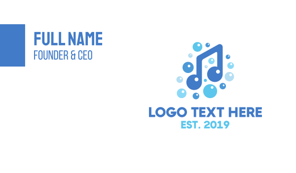 shower - Music Note Bubbles Business card horizontal design