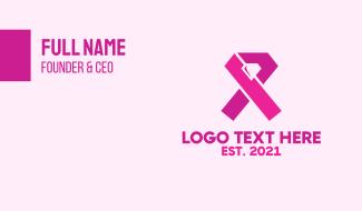 Pink Diamond Ribbon Business Card