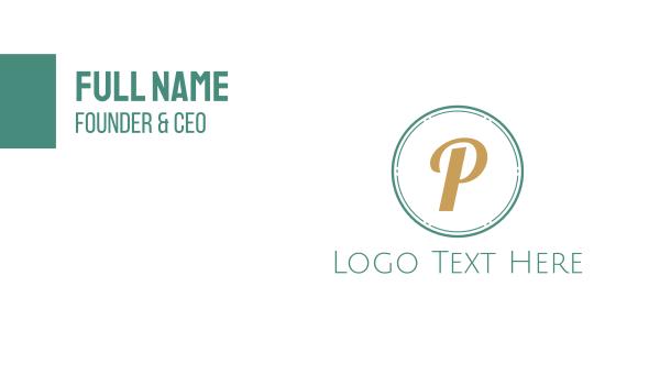 stamp - Gold P Emblem Business card horizontal design