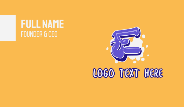 vibrant - Blockbuster Graffiti Letter E Business card horizontal design