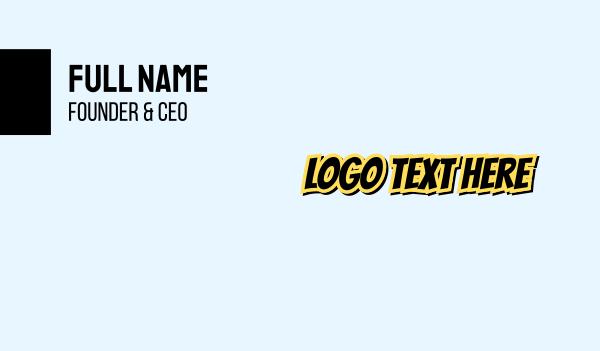 comic book - Yellow & Black Font Business card horizontal design