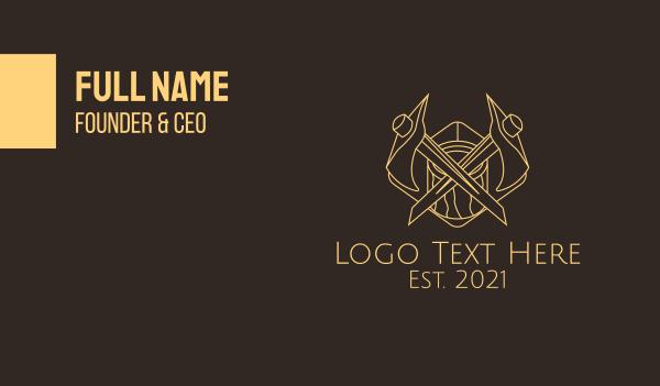 bronze - Minimalist Lumberjack Axe  Business card horizontal design