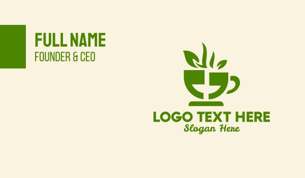 language - Tea Cup Quote Business card horizontal design