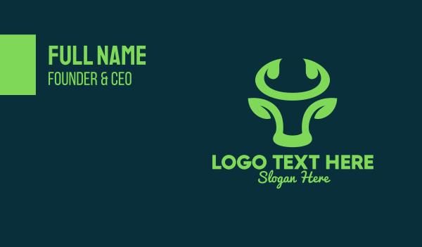 abstract animal - Green Bull Horns Business card horizontal design