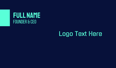 Bright Neon Blue Text Business Card