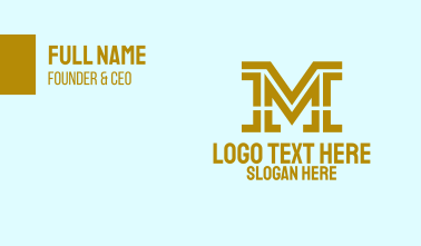 Gold Financial Letter M Business Card
