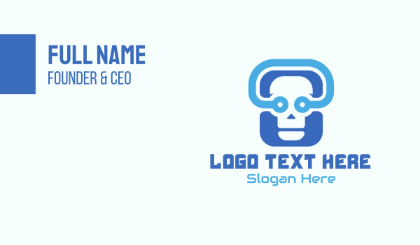 internet security - Blue Tech Skull  Business card horizontal design