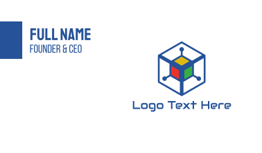 Generic Colorful Cyber Cube Business Card