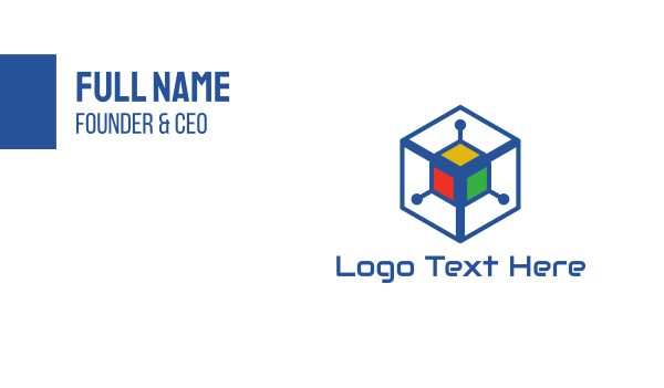 cyber - Generic Colorful Cyber Cube Business card horizontal design