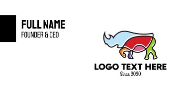 Colorful Rhino Business Card