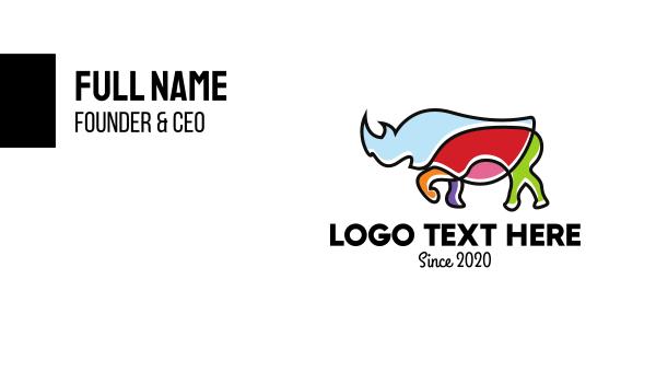 safari park - Colorful Rhino Business card horizontal design