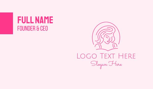 beauty parlor - Pink Minimalist Lady Business card horizontal design