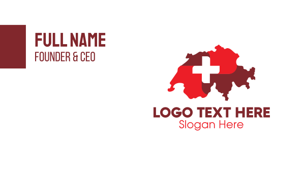 european - Red Switzerland Map Business card horizontal design