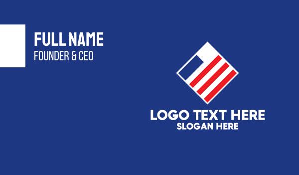 north america - Minimal American Stripes  Business card horizontal design