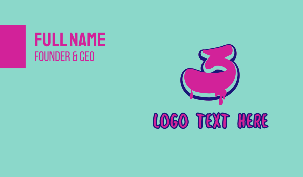 number - Paint Graffiti Number 3 Business card horizontal design