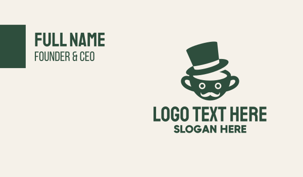 moustache - Coffee Cup Man Hat Business card horizontal design