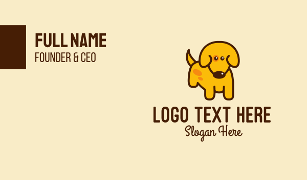 veterinary clinic - Cute Yellow Dog Business card horizontal design