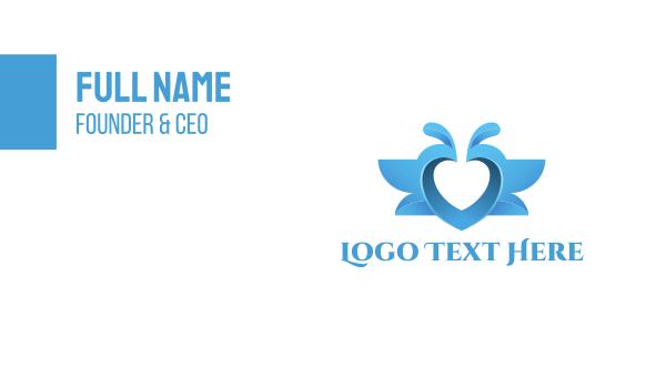 love birds - Blue Love Birds Business card horizontal design