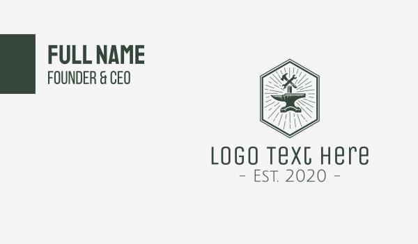 labor - Anvil Tools Workshop Business card horizontal design