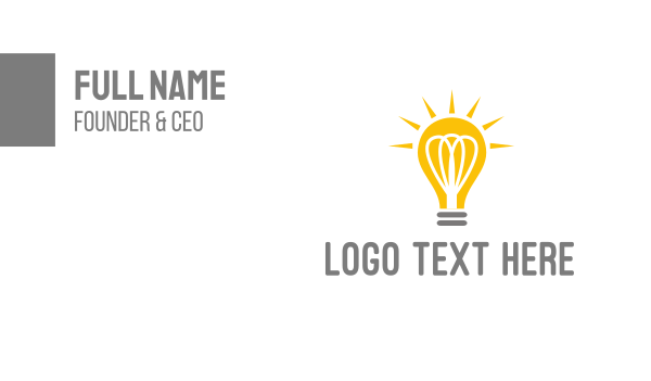 solar - Bright Yellow Light Bulb Business card horizontal design