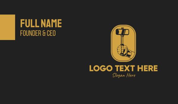 metal fabrication - Mallet Hammer Hand Emblem  Business card horizontal design