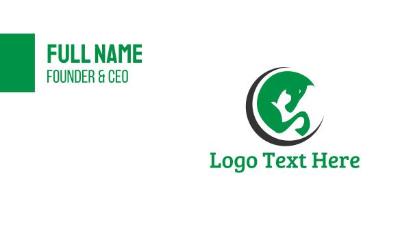 equestrian - Green Horse Circle Business card horizontal design