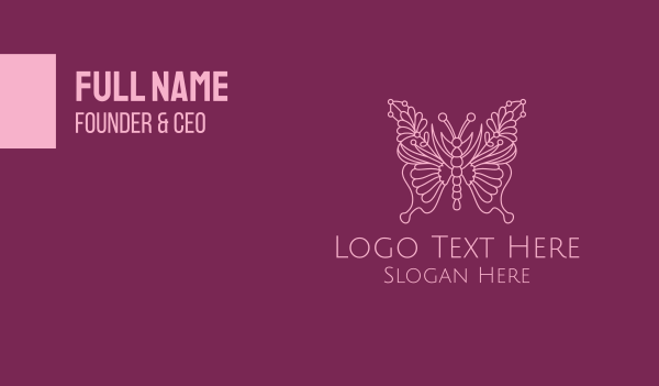 scent - Floral Butterfly Wings  Business card horizontal design