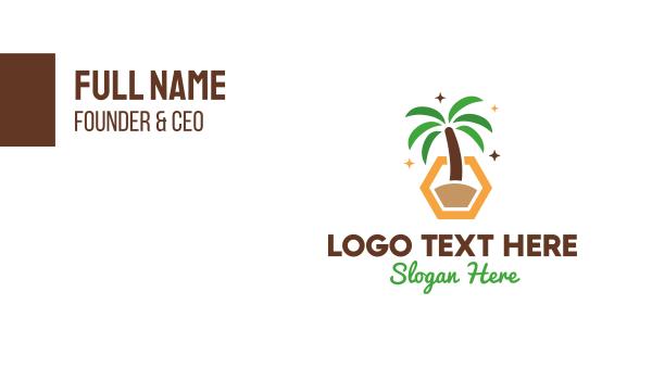 spring break - Hexagon Palm Tree Business card horizontal design
