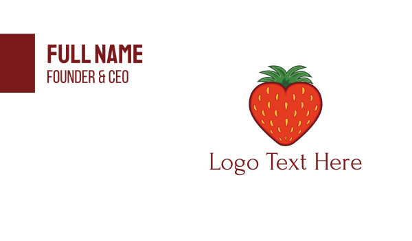 groceries - Strawberry Fruit Love Heart Business card horizontal design
