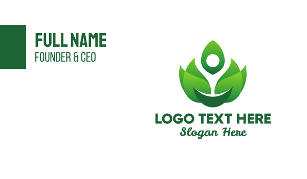 living - Green Flame Leaves Business card horizontal design
