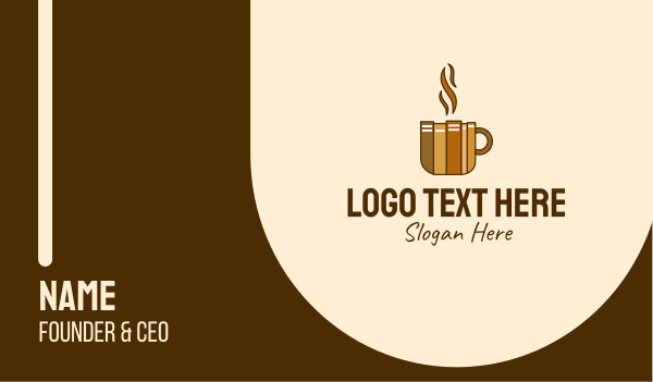 brewed - Book Cafe Cup Business card horizontal design
