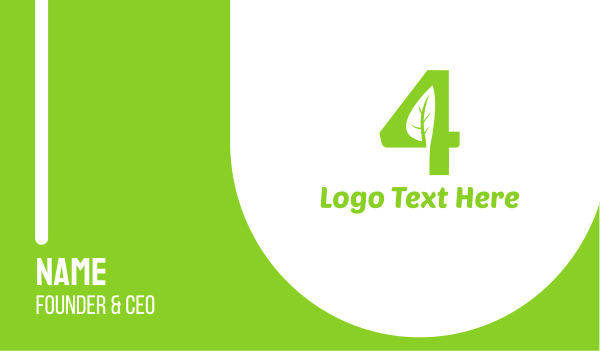 four - Organic Number 4 Business card horizontal design