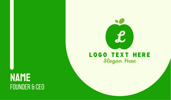 stand - Simple Green Apple Lettermark Business card horizontal design