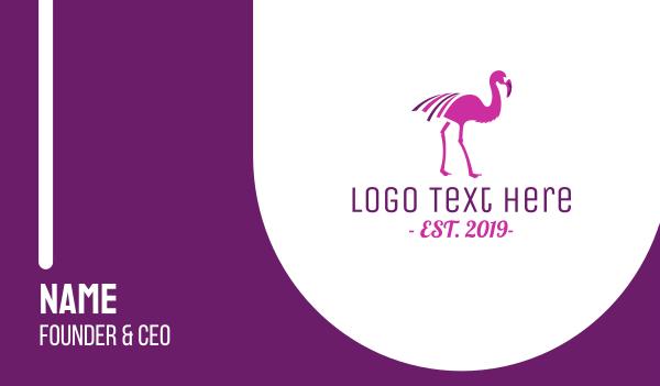 purple bird - Pink Flamingo Bird Business card horizontal design