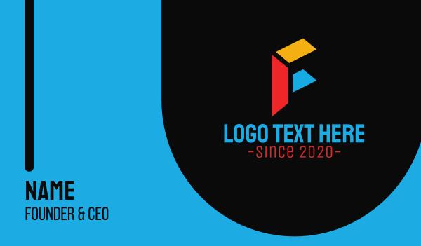streamer - Colorful Blocks Letter F Business card horizontal design