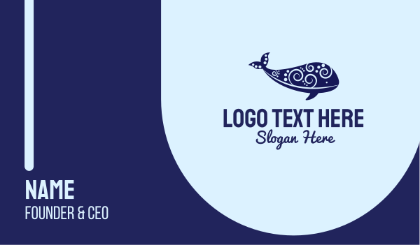ocean animal - Whale Art Business card horizontal design