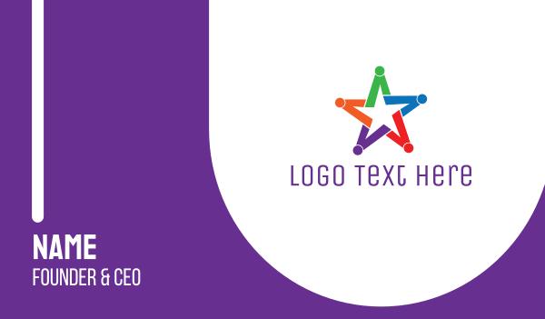 teamwork - Colorful Star Group Business card horizontal design