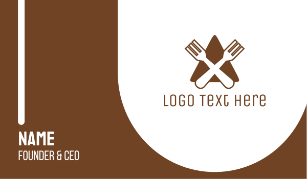brown and white - Triangle Fork Eat Restaurant Business card horizontal design