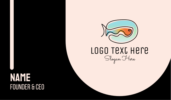 fresh fish - Fish Monoline Business card horizontal design
