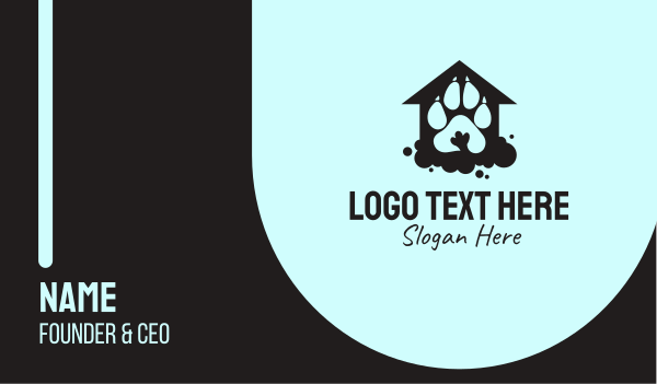 dog house - Paw Print Pet Kennel Business card horizontal design