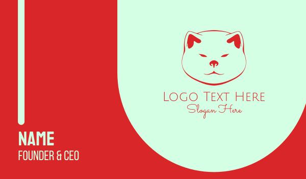 breed - Akita Dog Face Business card horizontal design