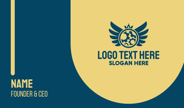 gears - Mechanical Crown Emblem  Business card horizontal design