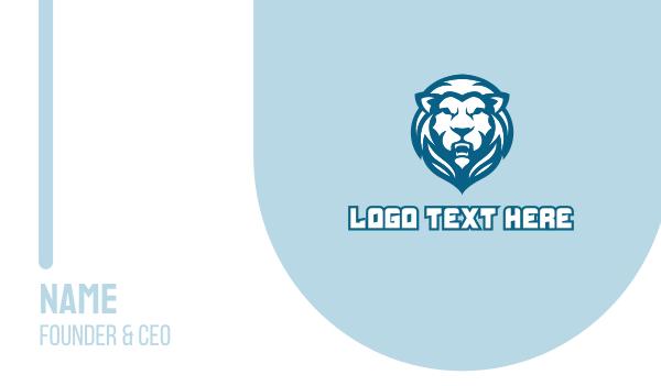 growl - Blue Lion Mascot  Business card horizontal design