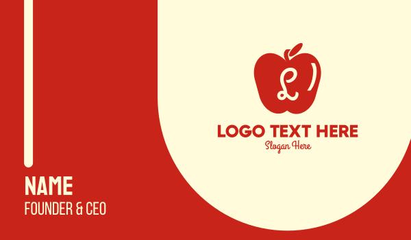 stand - Red Supermarket Apple Lettermark Business card horizontal design
