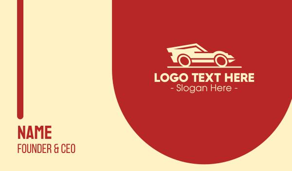 autoparts - Racing Yellow Sports Car Business card horizontal design