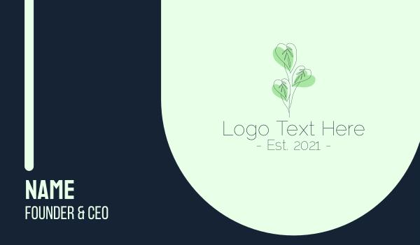 house plant - Leaf Plant Outline Business card horizontal design